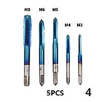 DXX-HR 5pcsの1/4六角シャンクHSSメートルねじタップHSSドリルビット螺旋台形タップハンドスクリュータップM3 M4 M5 M6 M8タップセット (Color : 4)