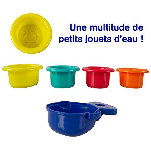 Ludi - Coffret de Jeux d'eau pour Le Bain : Grenouille, moulins, Verres gigognes percés, coupelle....