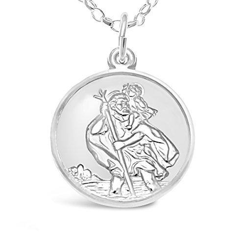 Anhänger mit Kette, Motiv: St. Christophorus Schutzpatron, aus Sterling-Silber 925, mit 45,72 cm Kette, Flugzeug, Auto und Boot auf der Rückseite