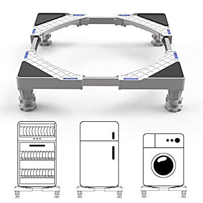 DEWEL Multi-functional Ajustable Base Stand with 4 Strong Feet Stent Durable Heavy Load 300kg Floor Trays for Washing Machine,Dryer and Refrigerator
