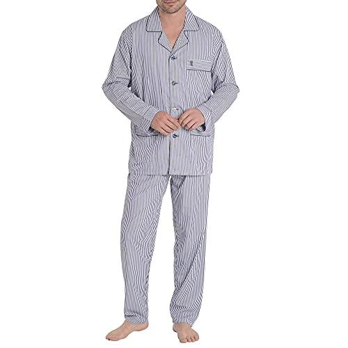 El Búho Nocturno - Pijama Hombre Largo Premium Solapa Bambú Rayas Azul Oscuro 50% Bambú 50% Poliéster Talla 4 (L)
