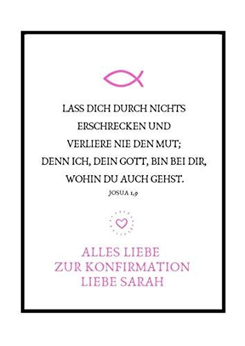 Personalisierbares Geschenk zur Firmung, Erstkommunion, Kommunion u. Konfirmation | Bild für Mädchen | Kunstdruck, DIN A4, Poster