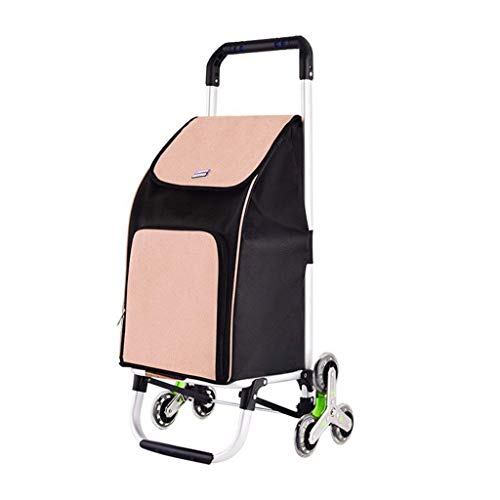 Shopping Trolleys Carro Tienda Subir Las escaleras Plegable de Compras de Coches de aleación de Aluminio portátil Coche de Las Compras for Las Personas Mayores de 42 * 40 * 90cm (Color : Khaki)