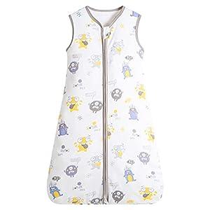 Herefun Saco de Dormir para Bebé, 0.5 TOG Saco de Sin Mangas Dormir de Verano Bebé con Cremallera, Transpirable Algodón para Recién Nacido 3-18 Meses (Monstruo, S)
