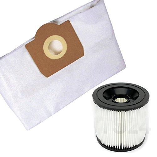 DeClean Staubsaugerbeutel Filtertüten Saugbeutel und Lammelenfilter Rundfilter Filter Ersatz für Kärcher Modell 5 Vlies Beutel + 1 Filter MV 3, WD 3200, WD 3500 P.u.M,WD 3.200,WD 3.500