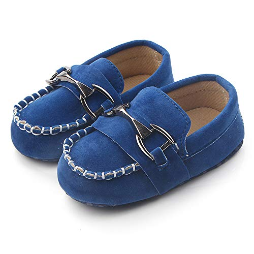 Greeen Baby Nubuck Vamp Soft Sole Toddler Loafers Boat Shoes Crib Shoes(106 0-6 Months Blue)