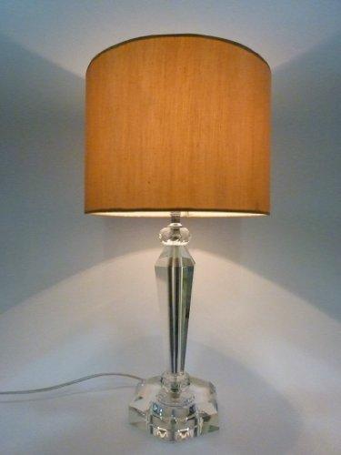 Dapo Tischleuchte mit Kristallfuß und Seiden - Stoffschirm Csaba Kristalleuchte Tischlampe