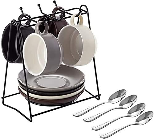 JXH Juego de platos de cena de porcelana, juego de tazas de café y té, 4 tazas de café y platillos con cucharas y soporte de exhibición, diseño simple, 150 ml, Euro Ceramica