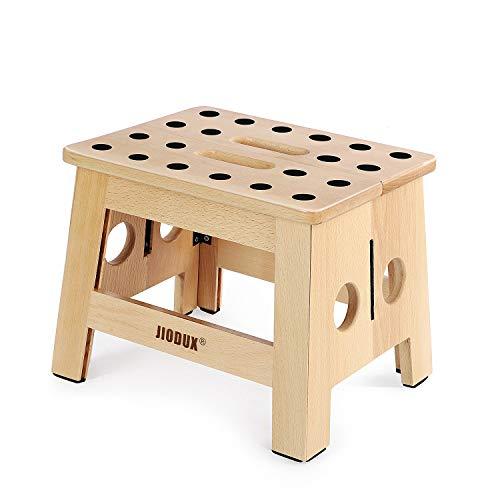 Jiodux 2020 Upgrade hölzern Tritthocker,rutschfest Klapphocker für Kinder,klein Holzhocker Perfekt für Küchen Schlafzimmer Kinderzimmer