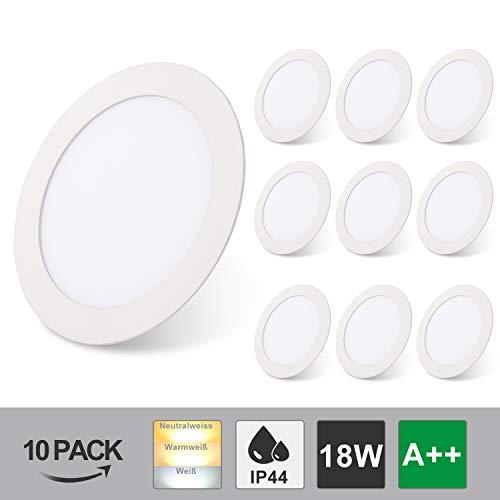 Hengda LED Einbaustrahler 10er Set 18W Einbauleuchten 85-265V Rund Ultra Flach Dimmbar Einbautiefe IP44 Farbwechsel 3 In 1 Deckenspots Für Schlafzimmer Wohnzimmer