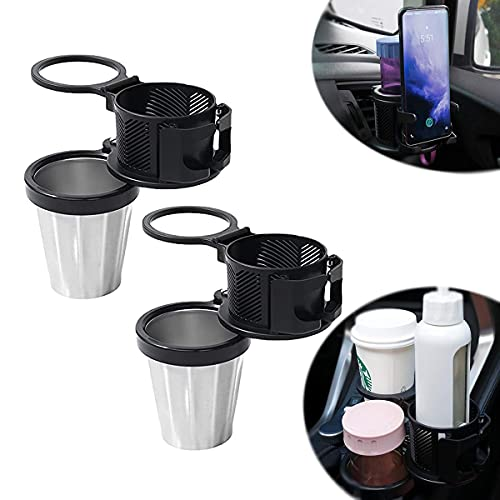 2-in-1 Car Cup Holder Expander Adapter, All Purpose Car Cup Holder, Multifunctional Car Cup Holder with 360 Rotating Adjustable,Car Cup Holder with Phone Holder,Insulation and Cold Preservation (2pcs)