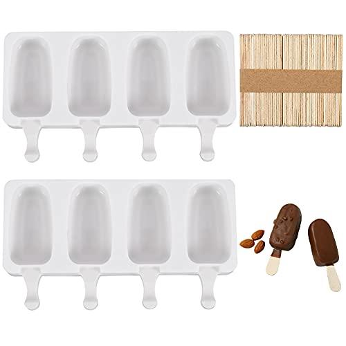 Mitening Moldes de silicona para helados, 8 palos, reutilizables, con 50 palos de madera