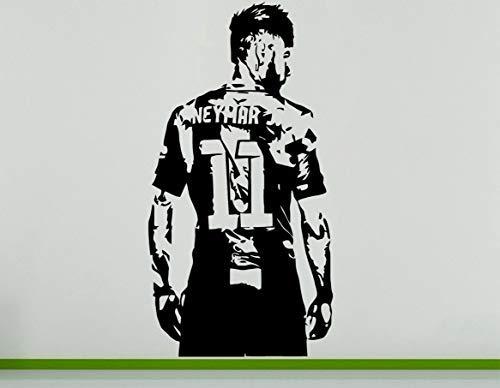 Neymar da Silva Brasilianischer Fusballspieler Fußballspieler Wanddekoration Aufkleber - Rot, 56 cms wide x 103 cms high