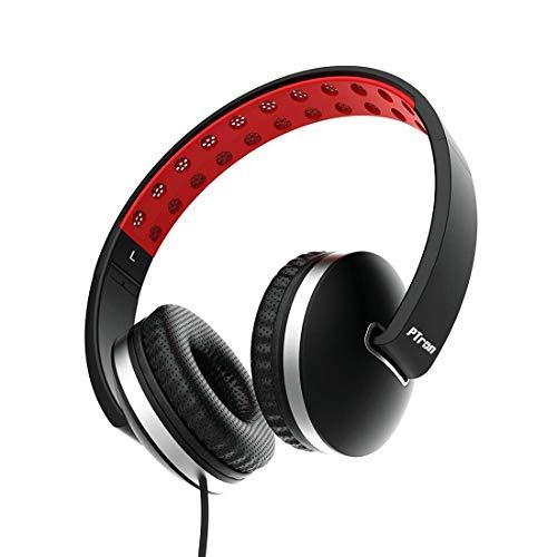 Ptron Rebel Stereo Wired koptelefoon met microfoon voor alle smartphones (rood, zwart, opvouwbaar, op het oor, helder geluid, 3,5 mm aansluiting, platte kabel)