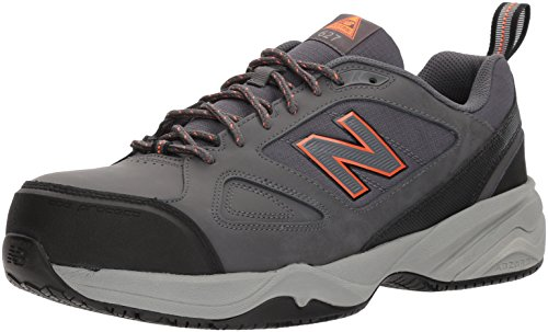 New Balance Men's Steel Toe 627 V2 Industrial Shoe, Grey/Orange, 13 XW US