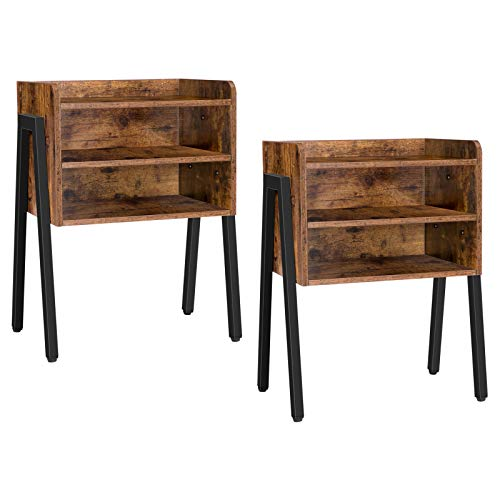 HOOBRO Nightstand, Set of 2 Stackable End Table, 3 Tier Bedside Tables for Small Spaces with 2 Open Front Storage Compartments, Wood Look Accent Table with Metal Frame, Rustic Brown BF02BZP201