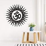 57X57Cm Adhesivos de pared Religioso hindú India Símbolo sánscrito Tatuajes de pared Decoración del dormitorio del hogar Vinilo extraíble Yoga Mural de la pared