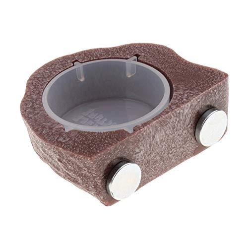 QWSX Outils d'alimentation pour volaille Gecko Terre Ledge Aimant Hanging Feeder Bowl Reptile Terrarium Décorations Robinet pour Animaux (Color : Brown as described)