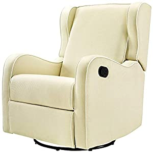Gliding Chair Upholstered Glider for Nursery 360 Degree Swivel Recliner Chair Armrest Relaxation Leg Rest Modern Indoor Comfy Contemporary Comfortable Bedroom Furniture Beige & eBook by NAKSHOP
