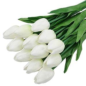 Olrla 12 Piezas de Flores de Tulipanes Artificiales Tacto Real, Ramo de Tulipanes de PU de Holanda Falsa Blanca para…