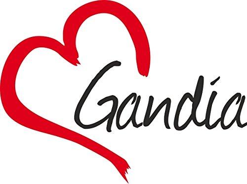 Vinilo Adhesivo para el coche o la moto ' GANDIA ' Gandía (Ciudad) corazón Sticker ca.9x12cm Pegatina sin fondo
