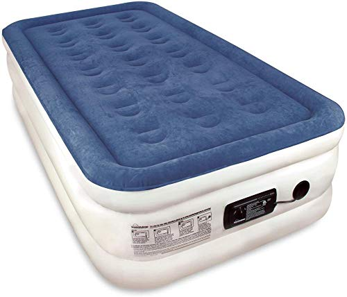 GFSDGF Raised Twin Size Premium Air Mattress - Best Inflatable Airbed with Plush Top and Internal High Capacity Pump - Exclusively