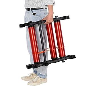 HOMCOM Rodillos para Bicicletas Entrenamiento en Interiores Rodillo Ciclismo Plegable Ajustable con Pedal Cinta Transportadora Soporta hasta 150 kg 146x55x10,5 cm Rojo y Negro