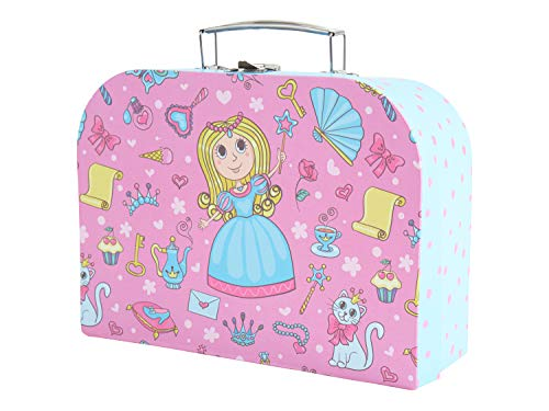 Bieco Children Suitcase with Princess Motif Suitcase Made of Cardboard, Metal Carrying Handle, Suitcase for Children, Luggage, 25 cm, 4 L, Light Blue / Pink