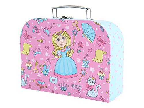 Bieco Kinderkoffer mit Prinzessin Motiv, Koffer aus Pappe, Metall-Tragegriff, Köfferchen für Kinder Equipaje Infantil, 25 cm, 4 Liters, Rosa (Hellblau/ Pink)