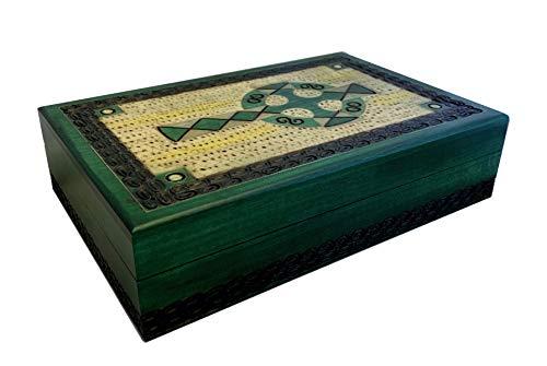 Celtic Cross Irish Green Jewelry Keepsake Box with Brass Inlay