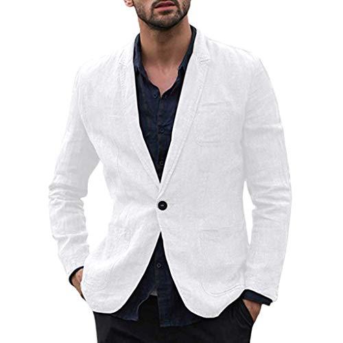 Lemooner Blazer da Uomo Lino Cotone Slim Fit Elegante Primaverile Casual Giacche Un Pulsante Suit Cappotto, Abito Uomo Completo Giacca Uomini Maniche Lunghe Nozze Partito Cerimonia Autunno Invern