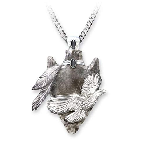 LFNSTXT Colgante geométrico Retro esculpiendo Collar de águila de Plumas Colgante de Moda para Hombre Collar Punk gótico-45cm