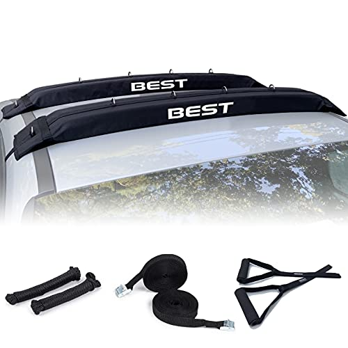 """Best Marine Kayak Roof Rack Pads. 48"""" Premium Car Carrier Racks for Vehicles Without Crossbars. Rooftop Mount Accessories for Kayaks, Canoe and SUP Paddle Boards"""