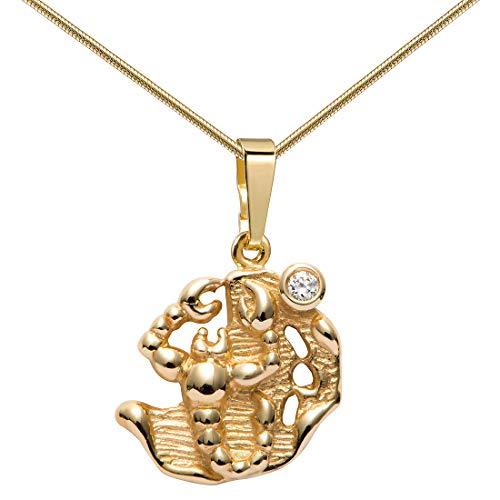 MATERIA 333 Gold Anhänger Skorpion Sternzeichen Kette für Damen mit Halskette Tierkreiszeichen Horoskop #GKA-26_K22g-45cm