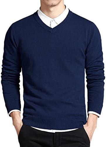 Suéter Azul Marino Para Hombres, Suéter Con Cuello En V Para ...
