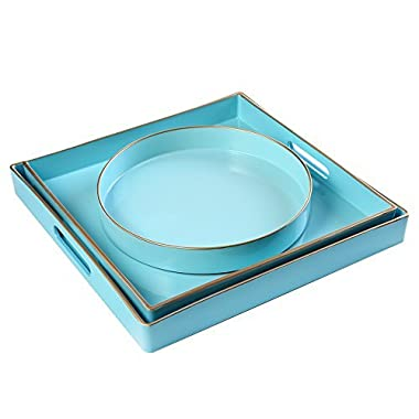 CC Wonderland Serving Tray with Handles (Set of 3) Sea Blue, 2 squares and 1 small circle, Turquoise, Decorative tray for Ottoman & Coffee Table