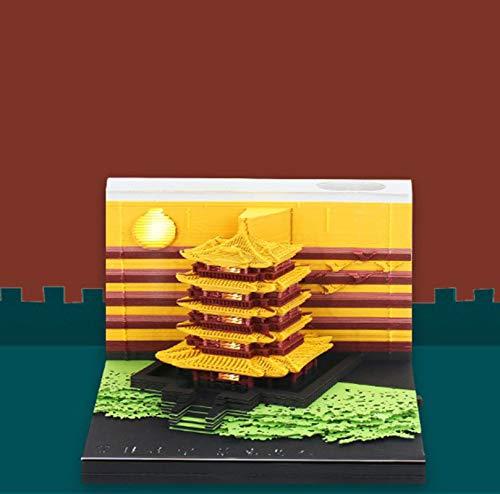 ZFFLYH Hinweis Papier, 3D Gelb-Kran-Turm-Anmerkungs-Papier, Kreatives Papierskulptur-Architekturmodell, Insgesamt 188 Papierstücke, Der Seitliche Schalter Kann Beleuchtet Werden