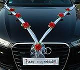 Autoschmuck Organza M Décoration de voiture de mariage ruban organza et roses rouge/blanc
