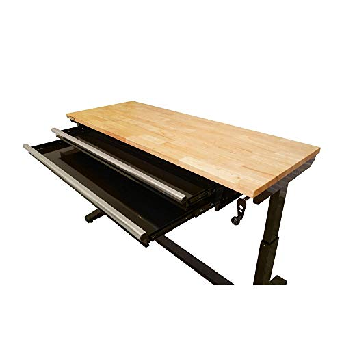 Husky 62 in. Adjustable Height Workbench Table with 2-Drawers in Black