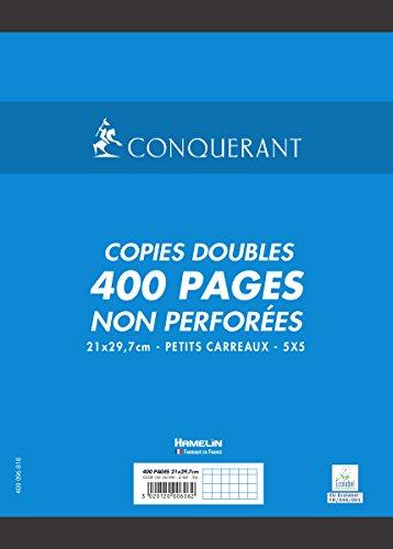 Conquérant Copies Doubles Non perforées A4 400 pages 70 g petits carreaux 5 x 5