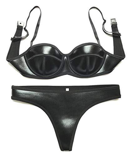 Little Hunter Sexy Bikini für Damen, zweiteilig, Neopren, gepolstert, Badeanzug -  Schwarz -  Large
