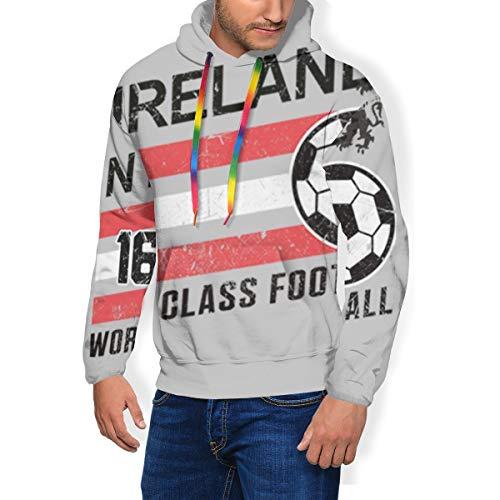 Euro 2016 Calcio Irlanda del Nord Palla Grigio Uomo Moda Felpa Con Cappuccio Pullover Tasche Più Velluto Multicolore XL