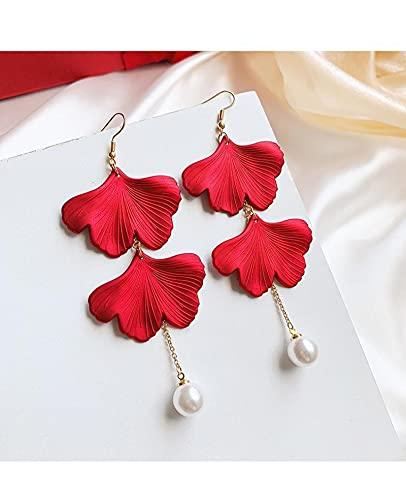 YANXIA Pendientes de Flores para Mujer, Pendientes Colgantes de Plantas para Mujer, Grandes Pétalos de Rosa Roja, Pendientes de Hoja, Pendientes Bohemios para Mujer