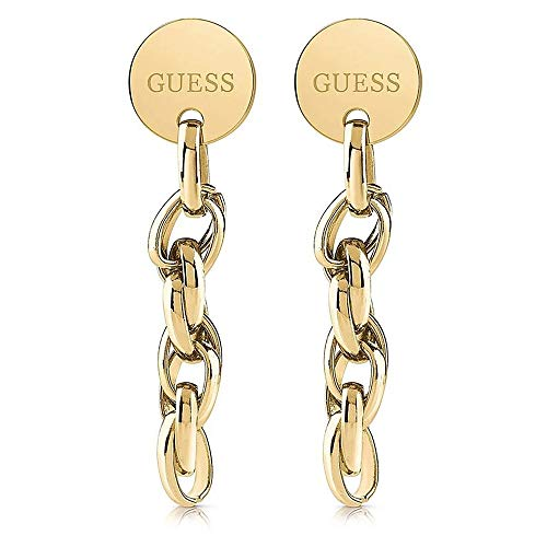 Guess Damen-Ohrhänger OVAL CHAIN COIN Edelstahl One Size Gold 32011715