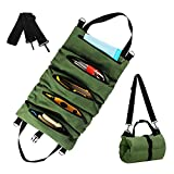 Roll Up Tool Bag,Wrench Roll Up Pouch Multi-Purpose Canvas Tool Rool Organizers, Hanging Tool Zipper Carrier Tote,Car Camping Gear, for Electrician, Plumber, Carpenter or Mechanic
