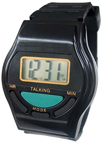 Digitale Armbanduhr mit Sprachfunktion | schwarz | Wecker | Blindenuhr | Alarm | Senioren