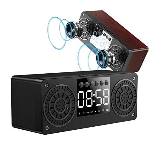 DGHJK Altavoces Bluetooth, Reloj Despertador Digital de Madera, emparejamiento estéreo inalámbrico para Fiestas, Viajes, hogar y Aire Libre