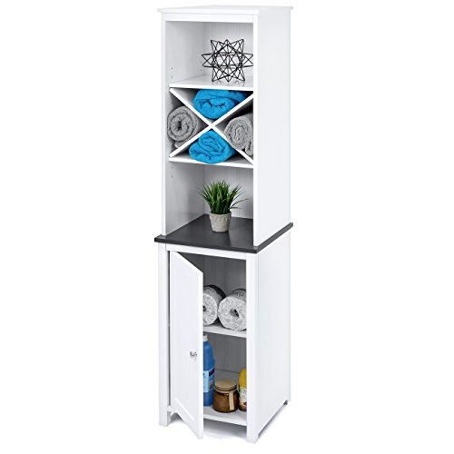 Best Choice Products Wooden Bathroom Tall Tower Storage Cabinet Organizer w/Faux-Slate Adjustable Shelves - White