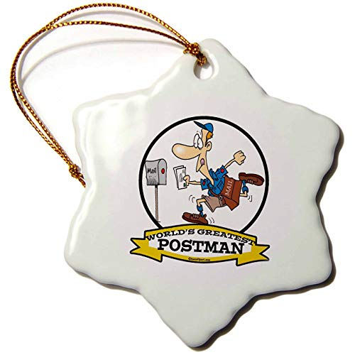 Kysd43Mill Funny Worlds Greatest Postman Occupation Job Cartoon- Ceramic Christmas Ornaments for Christmas Tree Decoration Home Novelty for Women Kids
