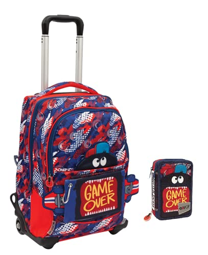 Gopop - Mochila escolar Pop Up con 5 gráficos, con estuche de 3 pisos y 7 bolígrafos borrables con llavero de juego cubo y bolígrafo multicolor perfumado